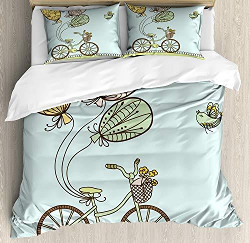 ABAKUHAUS Fiets Dekbedovertrekset, Spring Ballons en Vogels, decoratieve 3-delige bedset met twee sierslopen, Veelkleurig