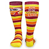 Run Now Gobble Later Knee High Half Cushioned Athletic Running Socks | Fun Running Socks by Gone For a Run
