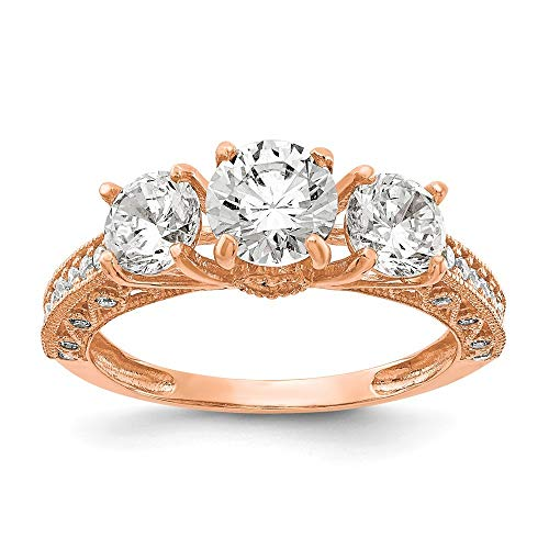 10k Tiara Collection Rose Gold Polished CZ Cubic Zirconia Simulated Diamond Ring Jewelry Gifts for Women - Higher Gold Grade Than 9ct Gold