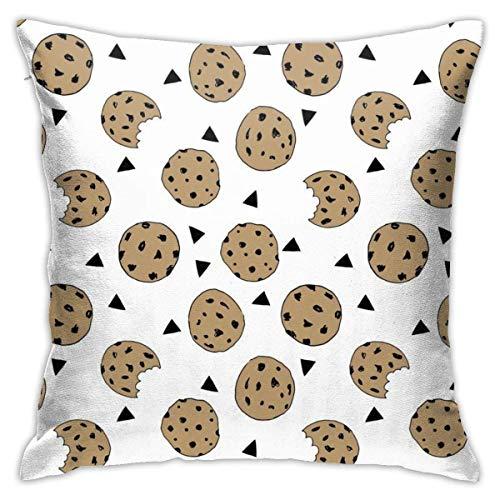 Funda de almohada decorativa de algodón para dormitorio, sofá, diseño geométrico, funda de cojín de 45,7 x 45,7 cm, galletas de chocolate