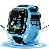 LDB Reloj Inteligente para Niños, SmartWatch Niños LBS Tracker SOS Impermeable Pantalla Táctil Llamada Bidireccional cámara de 3-12 Años Perfecto Regalo de Cumpleaños para Niños Niñas (Azul)