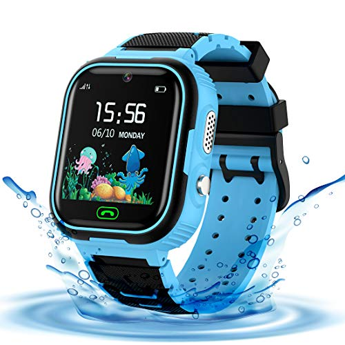LDB Smartwatch Kinder Phone, Wasserdichter Smartwatch Tracker für Kinder Wecker Touchscreen Micro Chat SOS Zwei Wege Mathe Spiel, Jungen und Mädchen