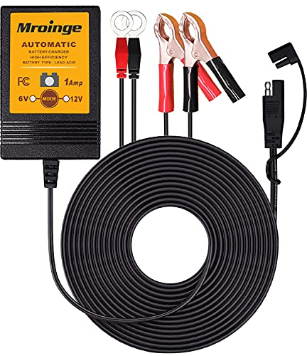 Mroinge 6V / 12V 1A Fully Automatic Trickle Battery Charger/Maintainer for Automotive Vehicle...