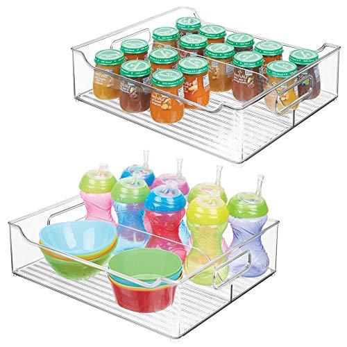mDesign - Opbergbak - opbergcontainer/organizer - met verdeler/handvatten - voor luiers, kleding, speelgoed en meer - handig voor slaapkamer/speelkamer/babykamer - doorzichtig