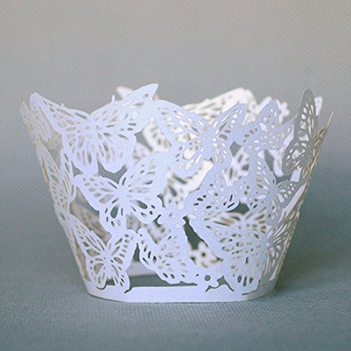 12Pcs Pearly Paper Butterfly Design Vine Lace Cup Cake Wrappers Table Deco