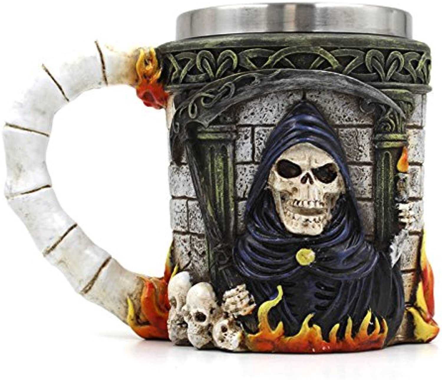Retro 3D Reaper Skull Mug, Painting Grim Coffee Drink Beer Mugs Resin Stainless Steel Cup for Medieval Personality, Mythic for for Home Office Party