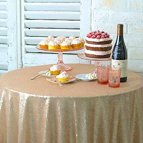 Tovaglia rotonda con paillettes, piccola tovaglia rotonda da 100 cm, per torta dolce e tavolo con glitter, tovaglia da tavolo per banchetti di nozze (48 pollici, rotonda, Champagne)