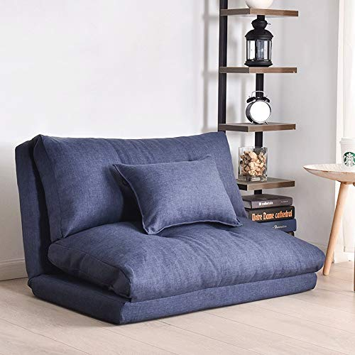 LF-STOOL Folding Lazy Couch Adult Sofa Bed Multi-functional Bedroom Leisure Sofa, Folding Mattress Double-layer Cleaning Coating Polyester Fabric Rebound Fiber Block Indoor And Outdoor (Color : Blue)