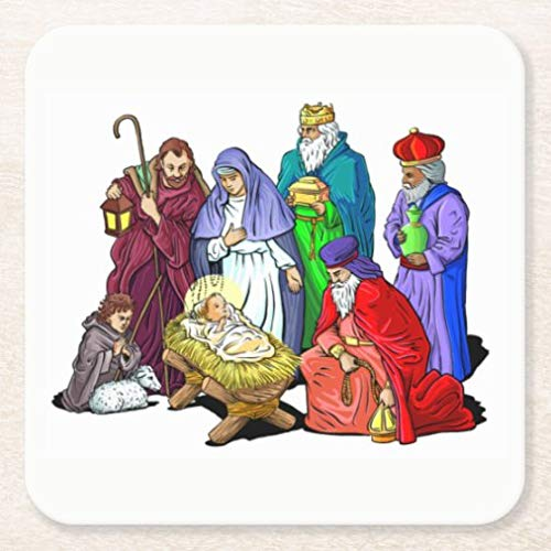 Coasters for Drinks with Cork Base, Colorful Christmas Nativity Scene Square Ceramic Coaster Set of 4, Cup Mat Pad for Home and Kitchen Table Decor Funny Housewarming Gift,Christmas Gifts