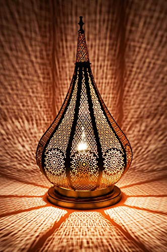 Orientalische kleine Tischlampe Lampe Kais 38cm Gold E14 | Marokkanische Tischlampen klein aus Metall, Lampenschirm Schwarz | Nachttischlampe modern, für Vintage, Retro & Landhaus Stil Design