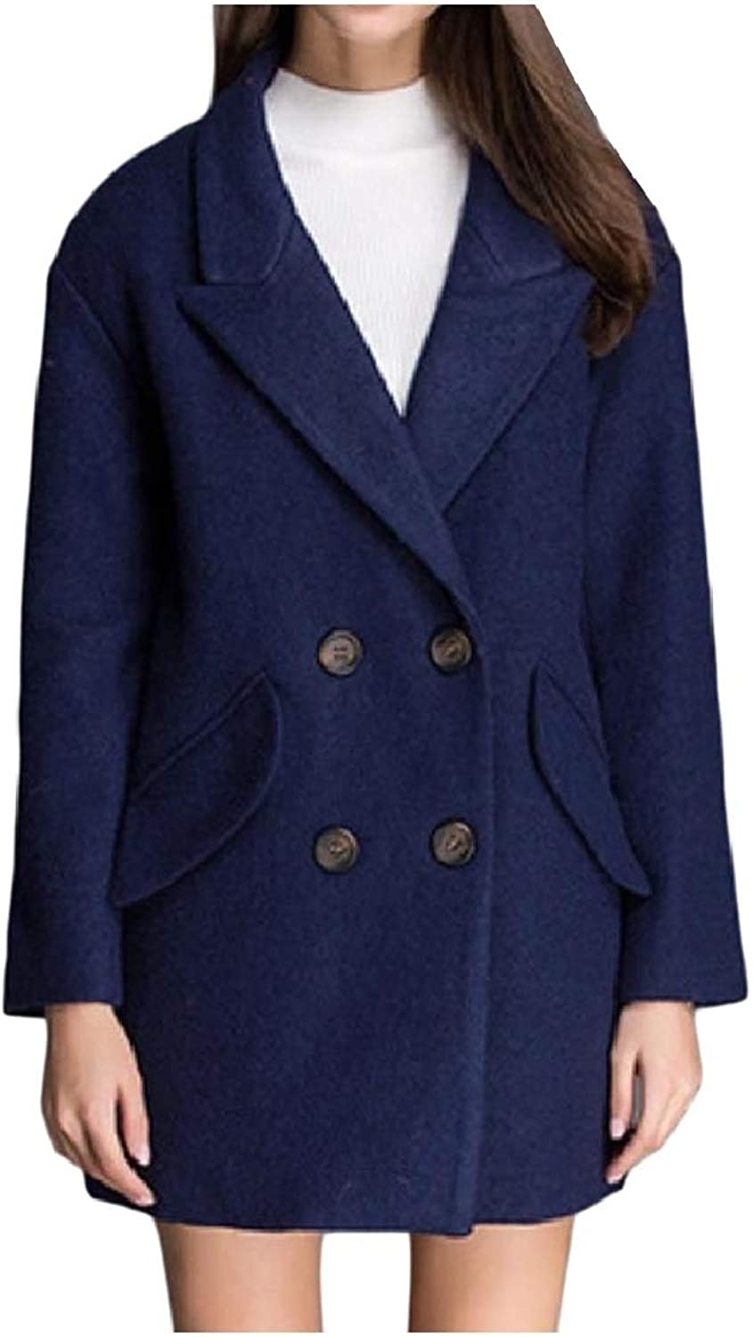 Baseby Womens Casual Button PlusSize Notch Lapel Pea Coat Jacket