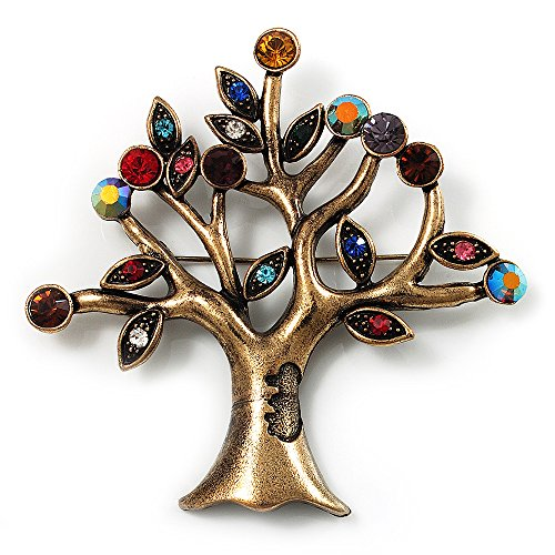 Avalaya Broche de árbol multicolor vintage (tono bronce), 7,5 cm de longitud