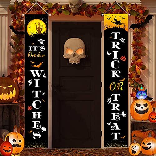 Halloween-Dekorationen für den Außenbereich, Trick or Treat und It's Oktober Hexen, Türschild zum Aufhängen, Banner für Veranda, Vorgarten, Wand, Heimdekoration, Halloween-Willkommensschilder