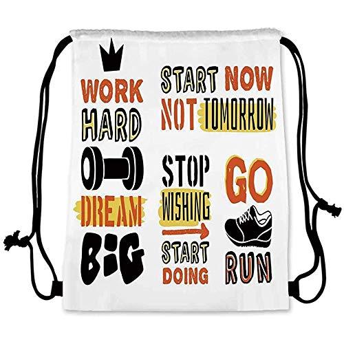 GeorgoaKunk Fitness Pratique Sac à Cordon, Affirmation Sportive Citations positives Conception de Typographie de Motivation Baskets décoratives pour Hommes Femmes