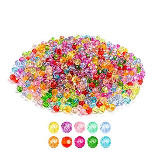 1020 perlas de cristal de 6 mm facetadas perlas de cristal perlas multicolor, perlas redondas de cristal multicolor, para manualidades, pulseras, joyas
