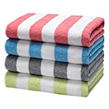 LULUHOME Cotton Large Beach Towel - 4 Pack 32 x 62 Inch Plush Striped Overszied Pool Towels , Fluffy...
