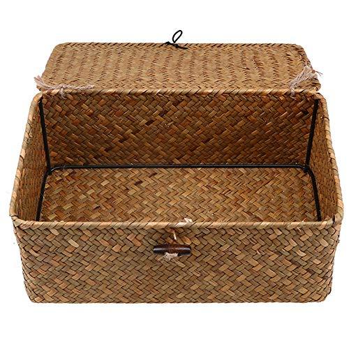 Cestas de almacenamiento con tapa, mimbre natural, cesto de almacenamiento tejido de ratán, caja organizadora rectangular para ropa, juguetes, cesto de maquillaje