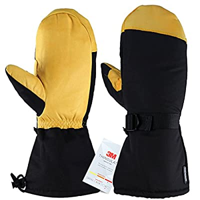 Winter Gloves Ski Mittens 3M Thinsulate Thermal Snow Work Glove for Men/Women (Mittens Built-in-five-fingers (Yellow), XX-Large)