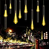 longdafeiUS Solar Meteor Shower Lights, LED Falling Rain Lightswith 30cm 10 Tubes 360LEDs Waterproof for Outdoor Trees Parties Wedding Garden House Decoration (Warm White)