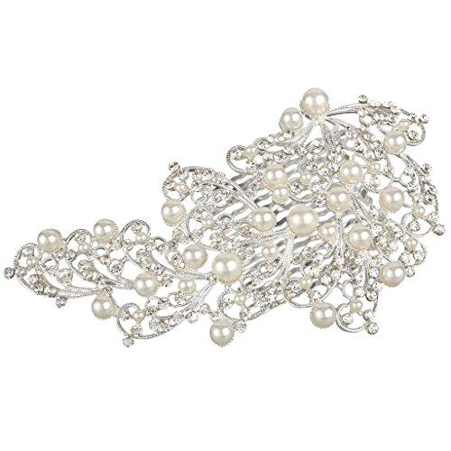 Clearine Damen Böhmisch Blühen Schmetterling Kristall Ivory-Farbe Künstliche Perlen Hochzeit Braut Haarkamm Haarschmuck