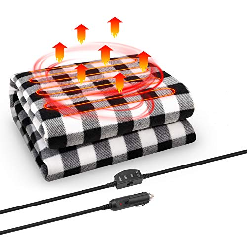 JoyTutus 12V Heated Car Blanket, Safe Heating Portable Car Electric Blanket, 5mins Fast Heating Throw Blanket, Heated Travel Blanket Warm Winter for Car Vehicle SUV RV, Easily Folded, Black