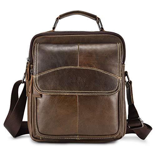 Echtes Leder Klein Umhängetasche Herren Tasche Reisen Mini Schultertasche Handytasche Männer Mini Messenger Bag(Braun-d)
