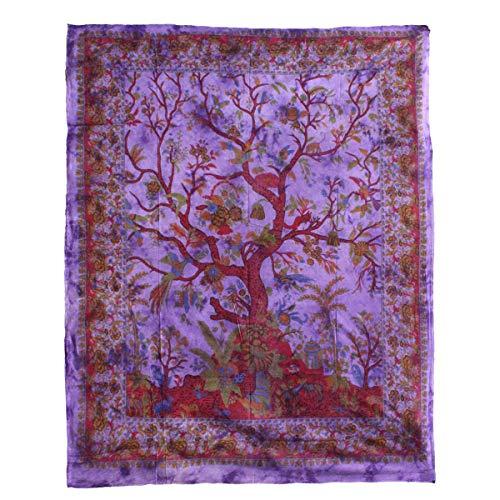 Oriental Galerie Tagesdecke Lebensbaum Couchüberwurf Wandbehang Überwurf Laken Tischtuch Vorhang Indien Violett Lila Nr 68