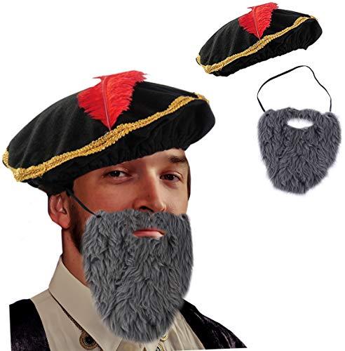 Tigerdoe Renaissance-Hut – Mittelalterlicher Hut mit Bart – 2-teiliges Set – Minstrel Kostüm – Renaissance Kostüm Zubehör