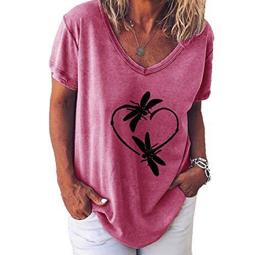 YANFANG Camiseta de Manga Corta Suelta con Cuello Redondo y Estampado Informal a la Moda para Mujer, Blusa Superior, Jersey,Elegante Mujer Invierno Primavera Otoño, XL,Pink