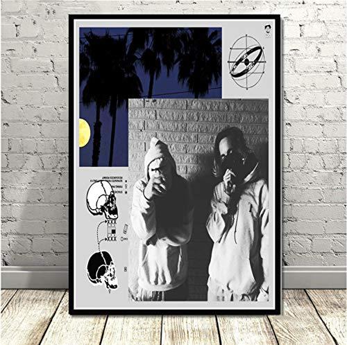 MXIBUN Poster Und Drucke Rapper Sänger Star Suicideboys Hip Hop Musik Wandkunst Bilder Leinwand Malerei Ohne Rahmen 50 * 70 cm
