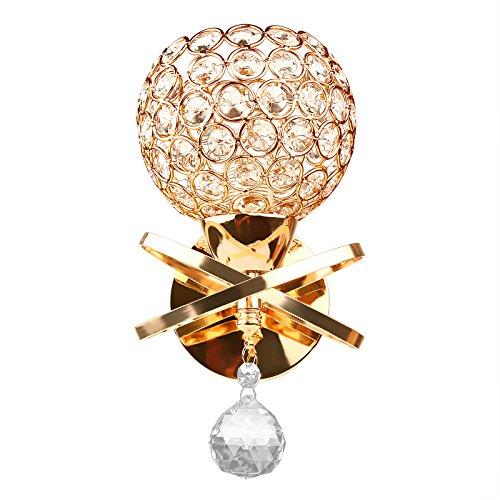 SOOTOP Kristall Wandleuchte Moderne Wandleuchte Kristall Pendelleuchte Wandleuchte Halter E14 Sockel Silber/Gold/Farbig (1 Stück)