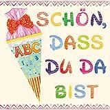 20 Servietten Schulanfang Schön, DASS du da bist beige/rosa für die Einschulung für Mädchen 33x33cm