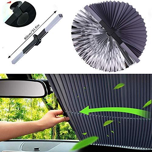 Parasol Automático para Coche, Estilo de Acordeón Retráctil Plegable Universal Parabrisas Parasol Aislante Protector Solar, para Auto/SUV/Camiones (80cm)