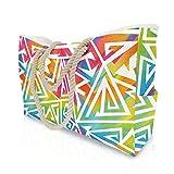 Bolsa de Playa Plegable Extra Grande para Damas XXL con Hebilla magnética antirrobo Impermeable, Bolsa de Playa antirrobo con Bolsa de Hombro con Bolsillo Interior (Rainbow Colors,XL)