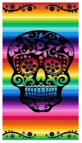 the best fashion house Toalla Playa 100% Algodon Egipcio (Calavera Multicolor) (90 x 170 CM)