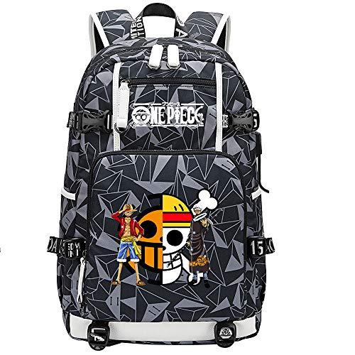 ZZGOO-LL One Piece Monkey·D·Luffy/Trafalgar Law Anime Laptop Backpack Bag Travel Laptop Daypacks Lightweight Bag with USB-D