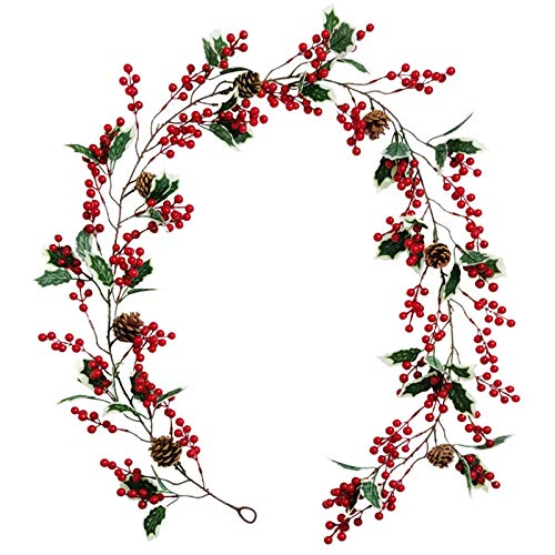 Luntus Red Berry Christmas Garland Flexible Artificial Red Berry Garland with Pine Cone and Green Leaves Red Berry Garlands