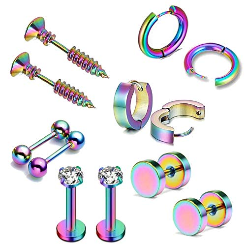 Bodystars Stainless Steel Earrings for Men - 6 Pairs Stainless Steel Stud Earrings Hoop Earrings, Prefect for Heavy Metal, Punk Rock, Tattoo, Street or Daily Wear (Rainbow)