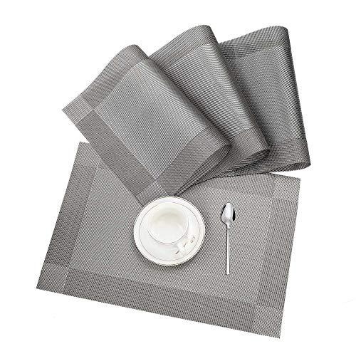 Tischset, Platzset 4er set Rutschfest Abwaschbar PVC Abgrifffeste Hitzebeständig Platzdeckchen für Zuhause Restaurant Speisetisch Braun Silber …