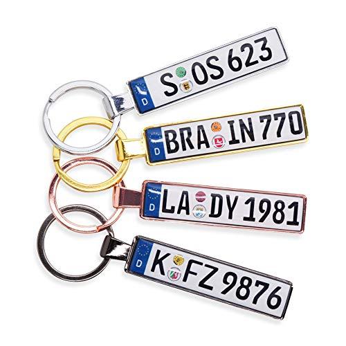 NUMMERNSCHILDCHEN Schlüsselanhänger in Premiumqualität individuell personalisiert KFZ Autokennzeichen Autoschild Wunschkennzeichen Wunschtext für Audi BMW Mercedes VW OPEL Skoda Mazda Ford Porsche