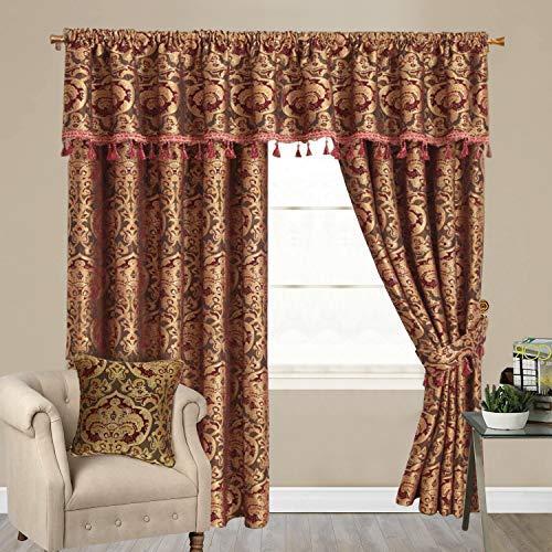 Yorkshire Bedding Heavy Duty Pencil Pleat Burgundy Curtains Jacquard Fully Lined Door Curtains Drapes Panels with Pelmets + Tie Backs (Burgundy Georgia, 90″ x 72″ (228cm x 183cm))