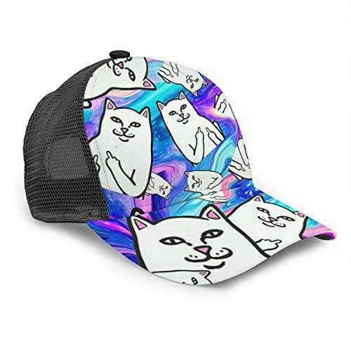 Gatos de dibujos animados ir lejos galaxia mujeres hombres gorra de béisbol ajustable camionero malla llano sombreros 6 paneles tapas estilo polo papá sombrero unisex negro
