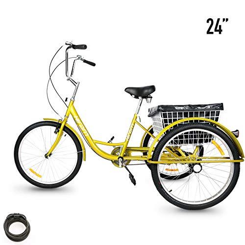 HIRAM Adult Tricycle Trike, 24' Wheels Single Speed Cruise Bike, Three-Wheeled Bicycle with...