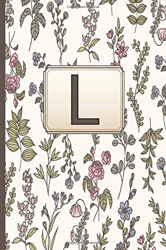 L: Initial Letter L Monogram Blank Lined Notebook,gardenias notebook flowers Personalized L Journal for Women and Girls , School Initial Letter L gardenias flowers monogrammed gifts