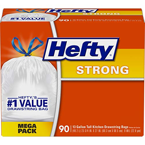 Hefty Strong Tall Kitchen Drawstring Trash Bags (90-Count Bags)