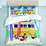 Juego de Funda nórdica, Verano Colorido Camper Van Wagon Truck Surf Surfing Vacation, colección de Ropa de Cama para niños, 3 Piezas