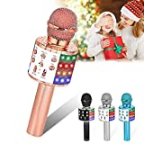 Verkstar Wireless Karaoke Microphone, Bluetooth Speaker Mic Best Birthday Gift Toy for Kids Adults with LED Lights and Recording Magic Sing Portable Handheld Karaoke Machine