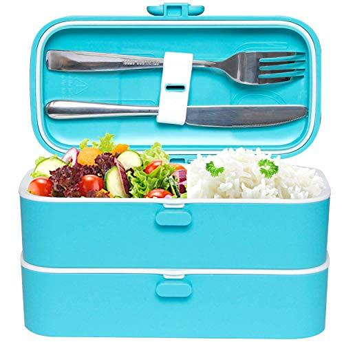 Veggycook Lunch Box Boîte à Repas bento Hermétique Couverts en Acier INOX Inclus 1200ml sans bpa (Bleu)