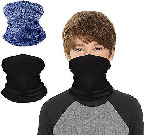 Kids Neck Gaiters Face Masks for Coronavịrus Protection UV Protection Neck Gaiters Mask for Kids Bandana Boys Girls (Black+Blue)