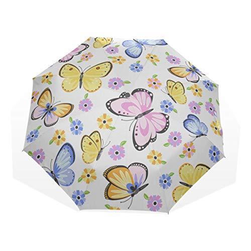 Wind Proof Travel Umbrella Blume und Schmetterling Happy Genießen Sie 3-Fach Kunst Regenschirme (außerhalb Druck Kids Travel Umbrella Raining Men Umbrella Travel Folding Umbrella